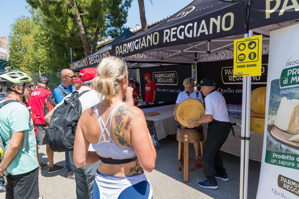 Parmigiano Reggiano cheese wheel opening