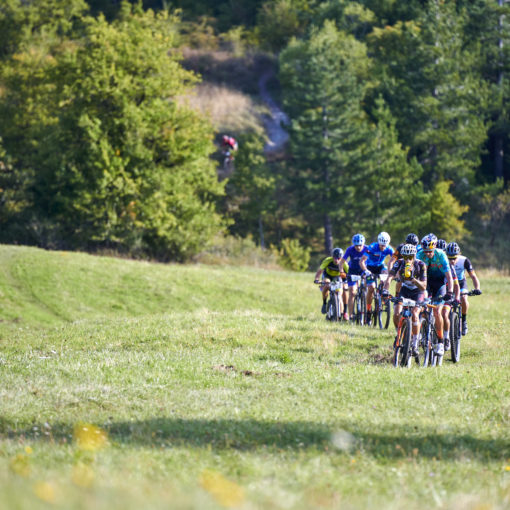 Group climbing at Appenninica MTB Stage Race